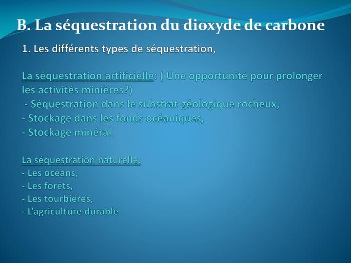 1. Les différents types de séquestration,