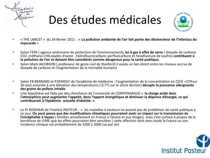 Des études médicales