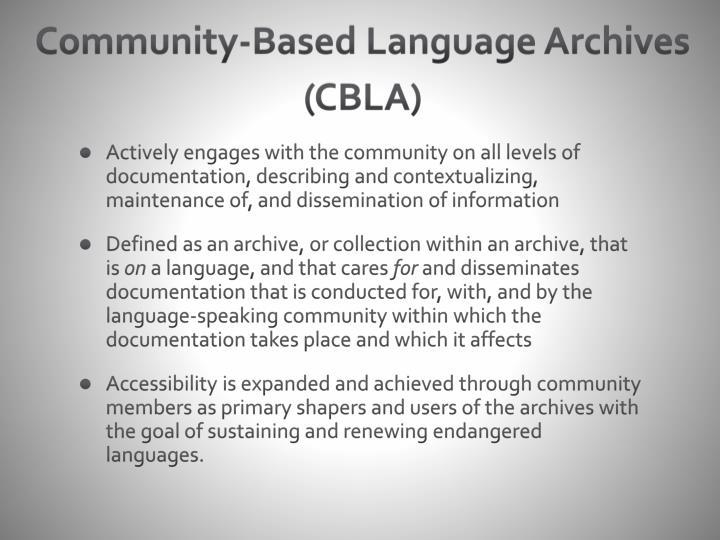 Community-Based Language Archives