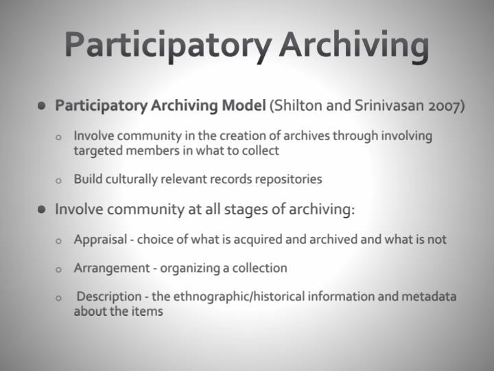 Participatory Archiving