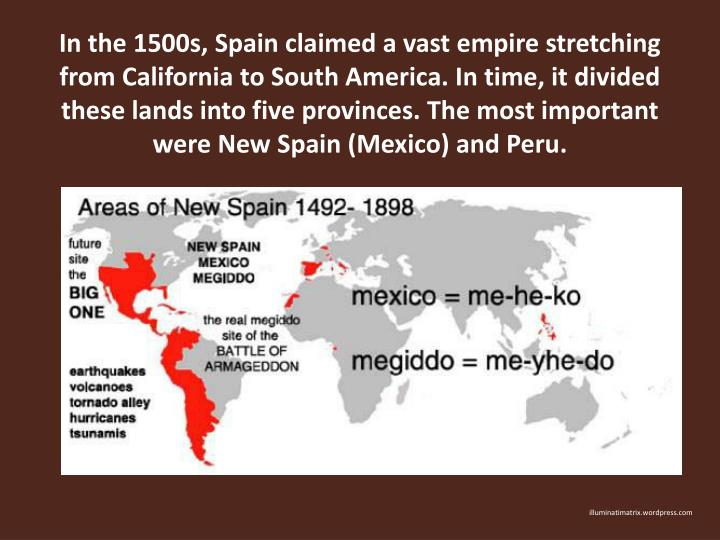 In the 1500s, Spain claimed a vast empire stretching from California to South America. In time, it d...
