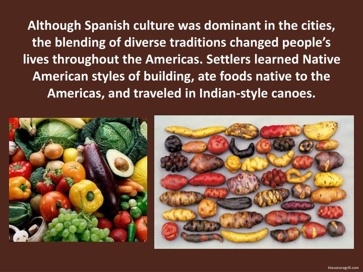 Although Spanish culture was dominant in the cities, the blending of diverse traditions changed people's lives throughout the Americas. Settlers learned Native American styles of building, ate foods native to the Americas, and traveled in Indian-style canoes.