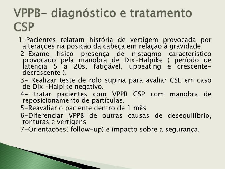 VPPB- diagnóstico e tratamento CSP