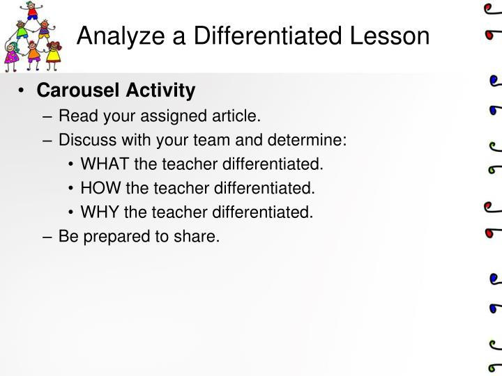Analyze a Differentiated Lesson