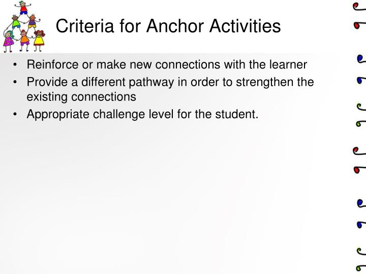 Criteria for Anchor Activities