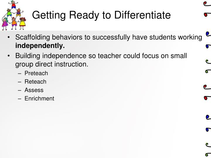 Getting Ready to Differentiate
