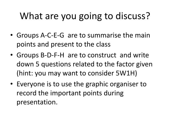 What are you going to discuss?