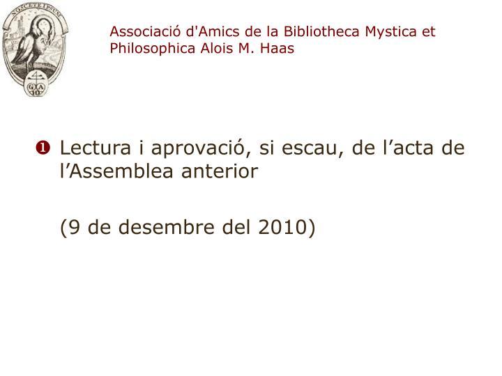 Associaci d amics de la bibliotheca mystica et philosophica alois m haas2