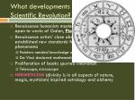 what developments contributed to the scientific revolution