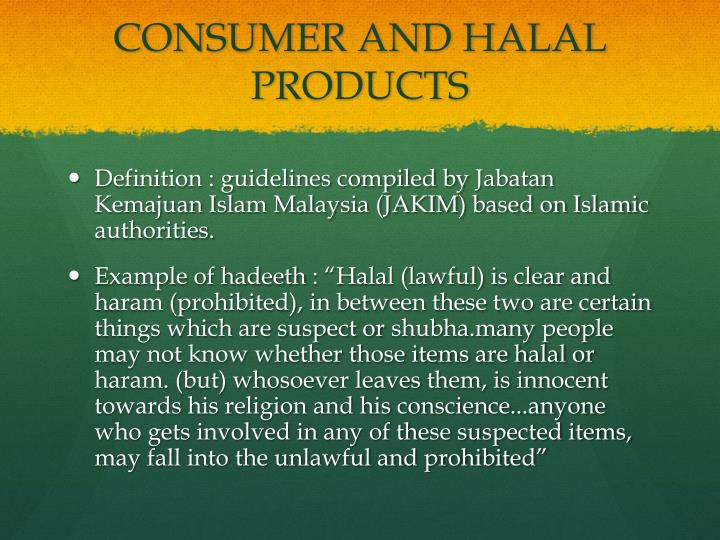 CONSUMER AND HALAL PRODUCTS
