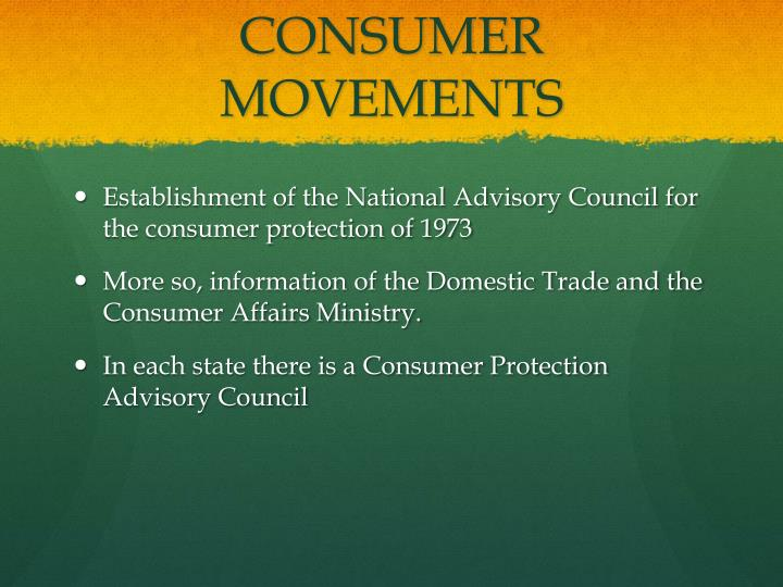 CONSUMER MOVEMENTS