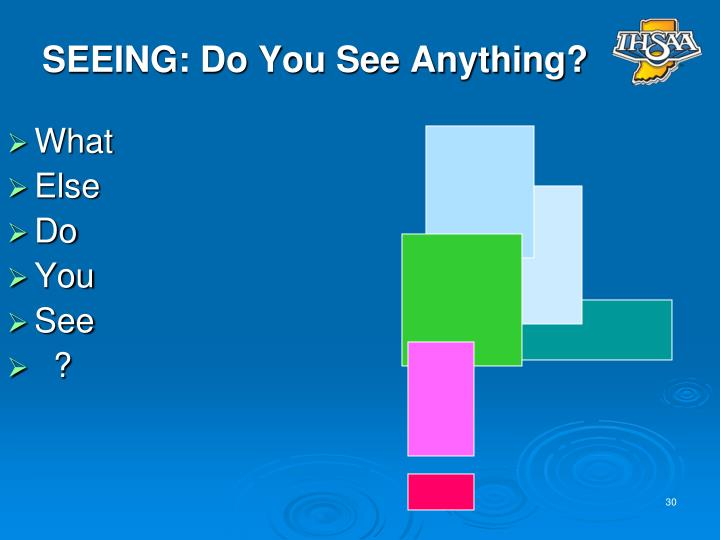 SEEING: Do You See Anything?