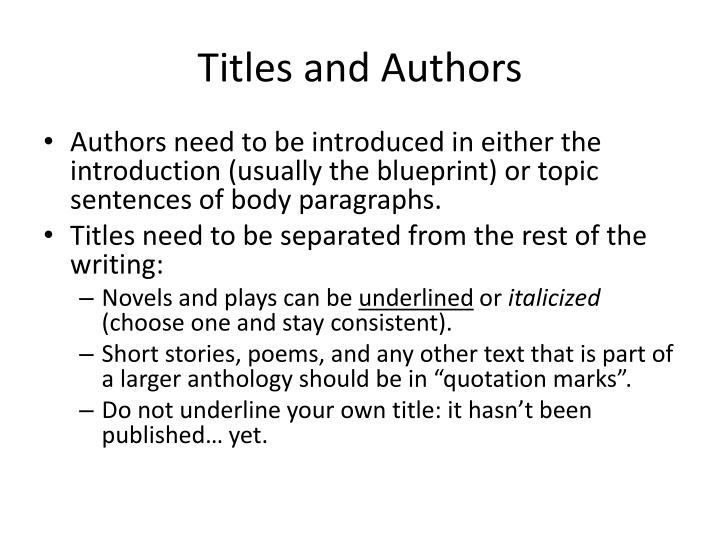 Titles and authors
