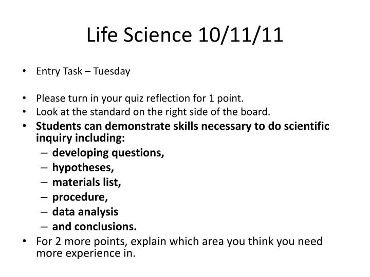 Life Science 10/11/11