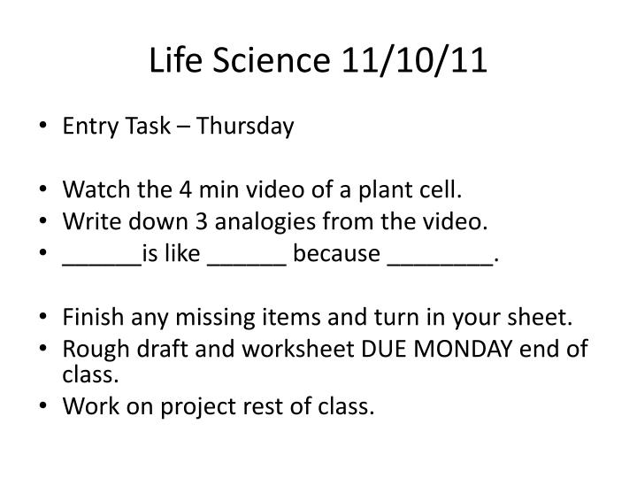 Life Science 11/10/11