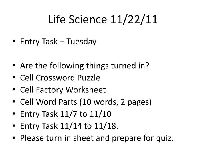 Life Science 11/22/11