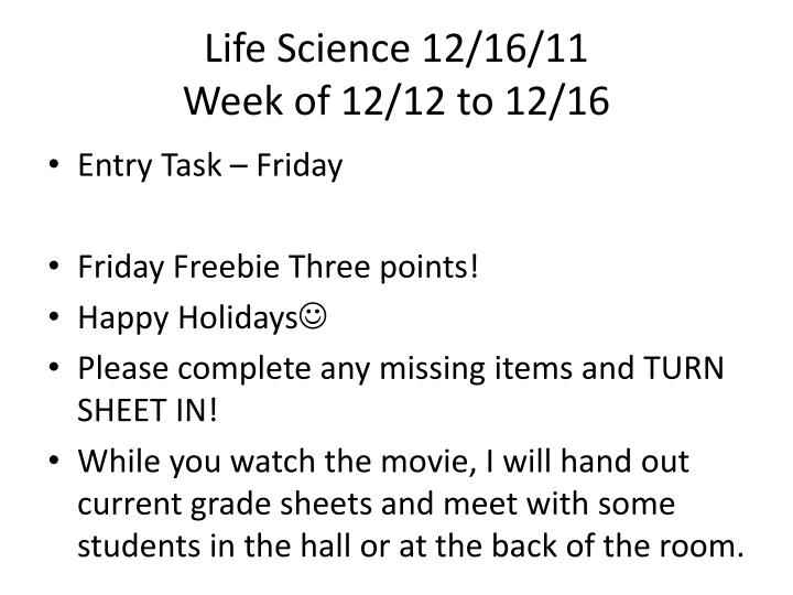 Life Science 12/16/11
