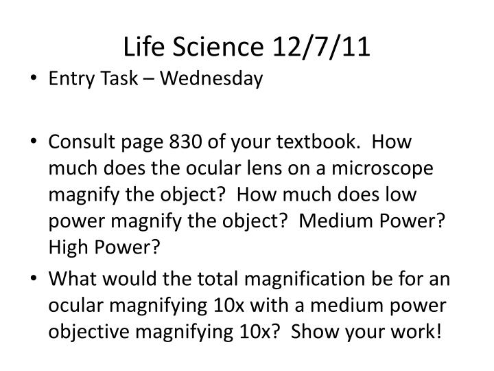 Life Science 12/7/11