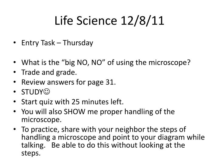 Life Science 12/8/11