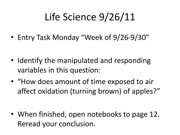 Life Science 9/26/11