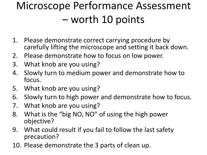Microscope Performance Assessment – worth 10 points