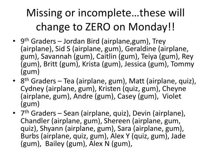 Missing or incomplete…these will change to ZERO on Monday!!