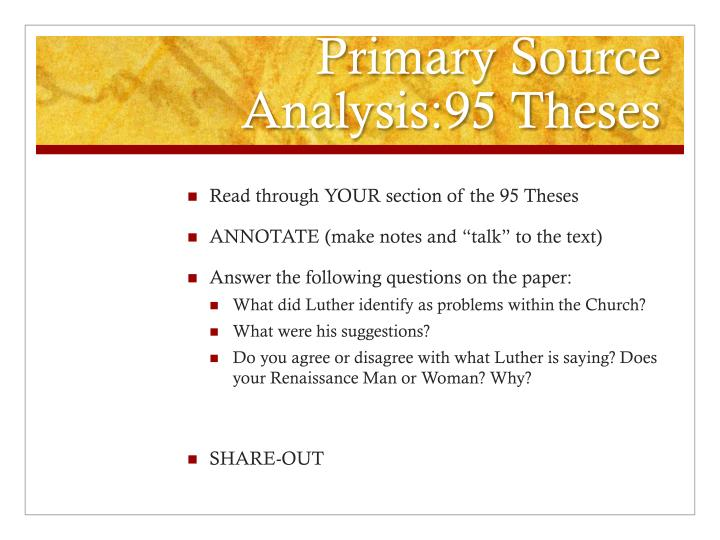 Primary Source Analysis:95 Theses