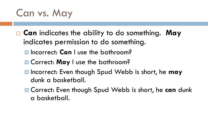 Can vs. May