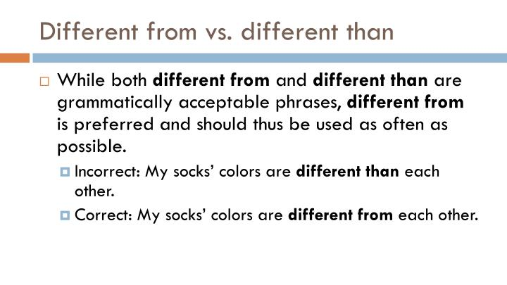 Different from vs. different than