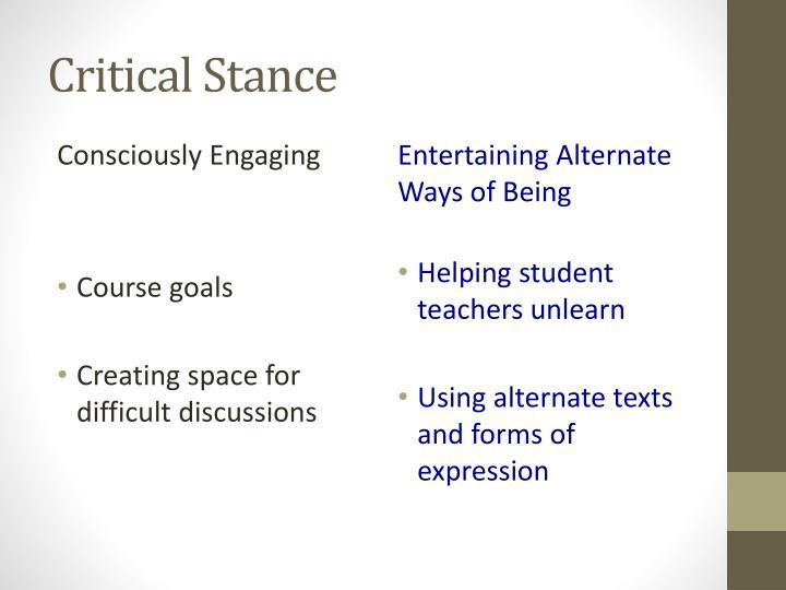 Critical Stance