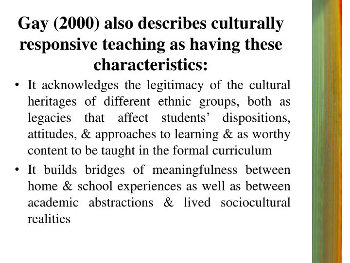 Gay culturally responsive teaching