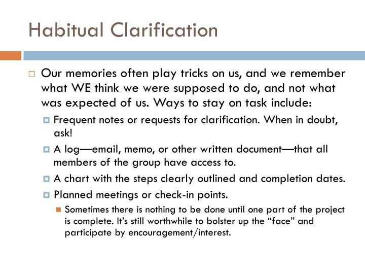 Habitual Clarification