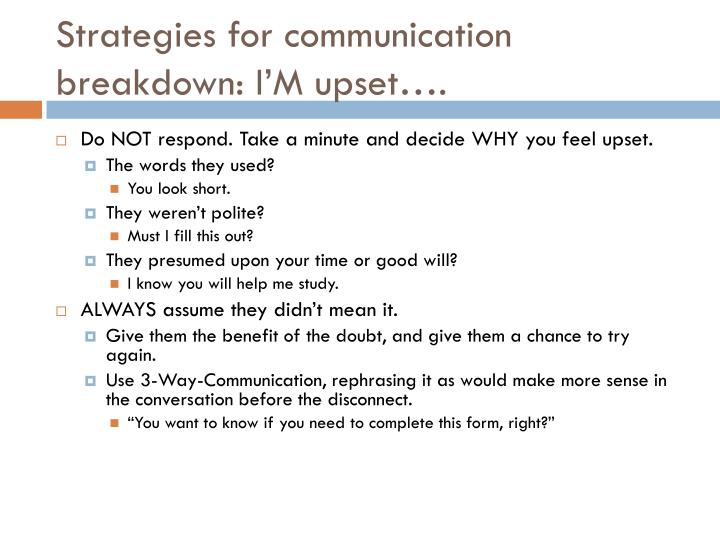 Strategies for communication breakdown: I'M upset….