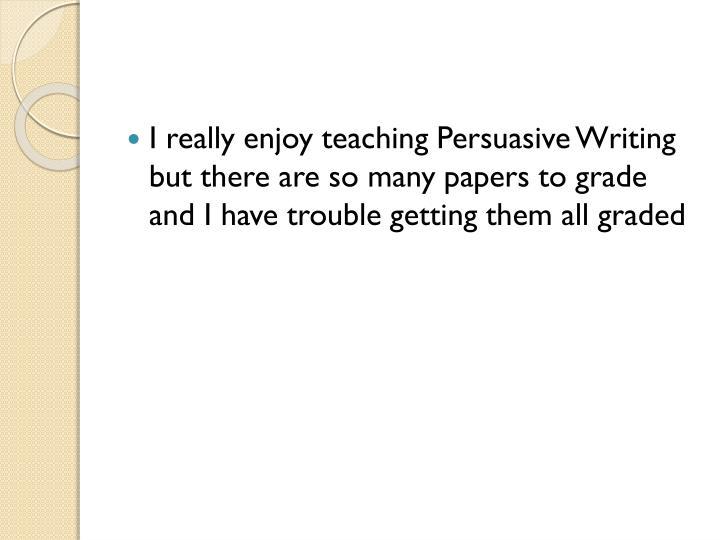 I really enjoy teaching Persuasive Writing