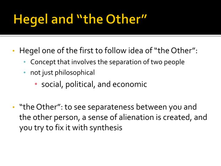 """Hegel and """"the Other"""""""