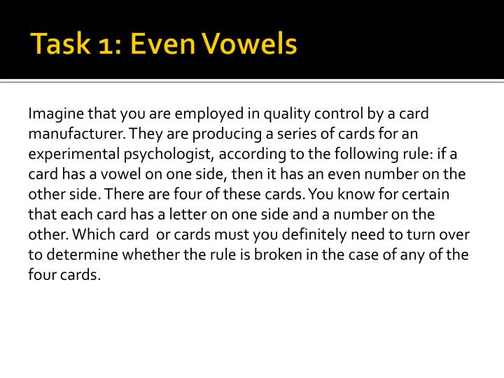 Task 1: Even Vowels