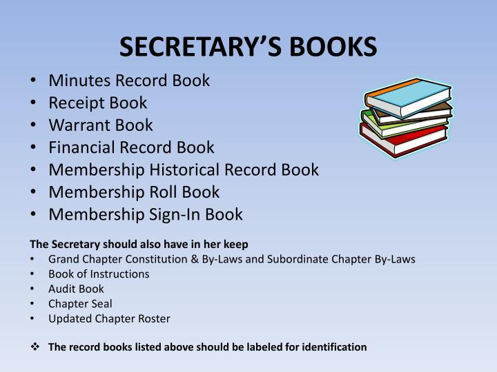 SECRETARY'S BOOKS