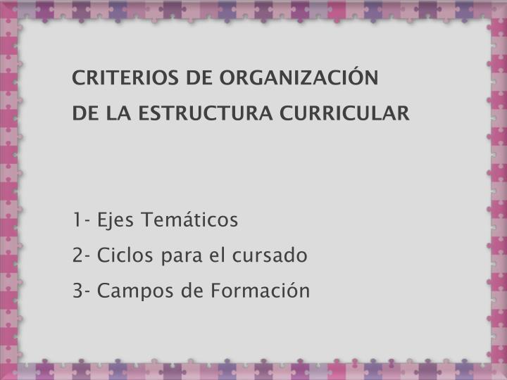 Criterios de Organización