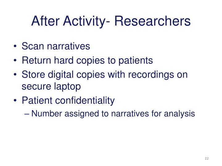 After Activity- Researchers