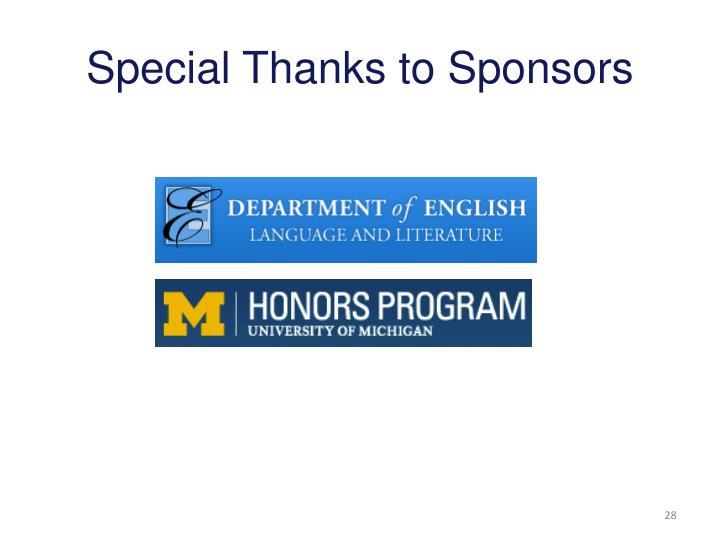 Special Thanks to Sponsors