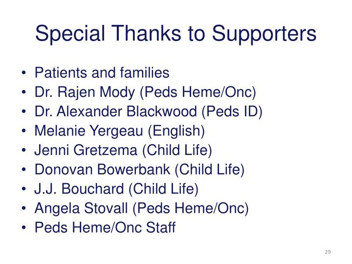 Special Thanks to Supporters