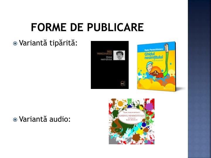 Forme de publicare