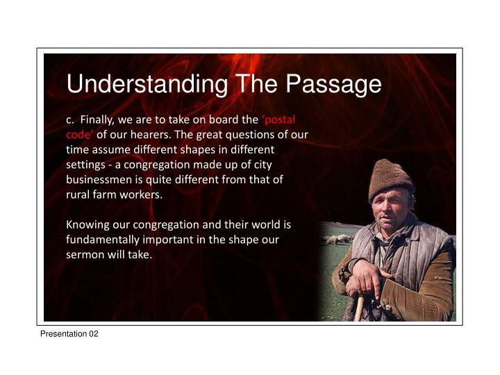 Understanding The Passage