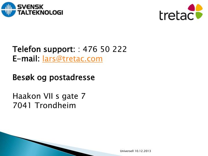 Telefon support: