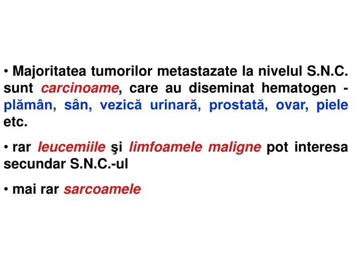 Majoritatea tumorilor metastazate la nivelul S.N.C. sunt
