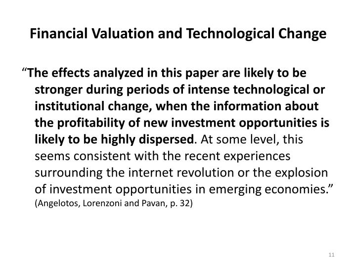 Financial Valuation and Technological Change