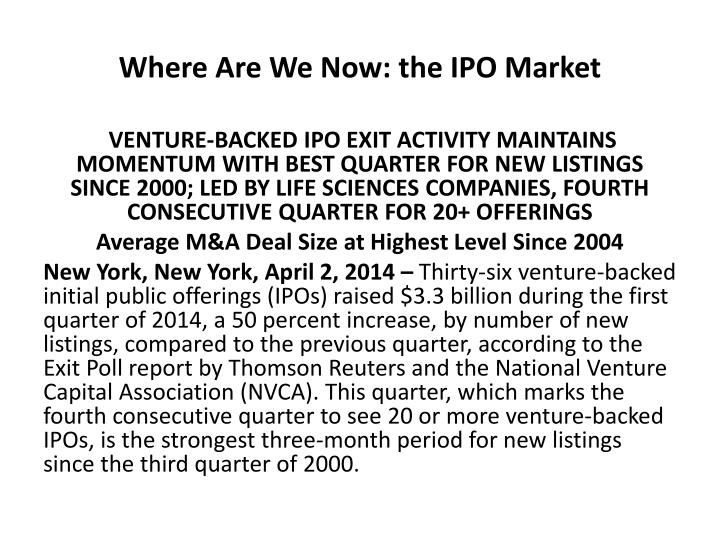 Where Are We Now: the IPO Market