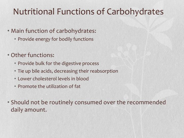 Nutritional Functions of Carbohydrates