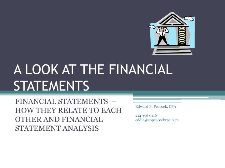 a look at the financial statements n.