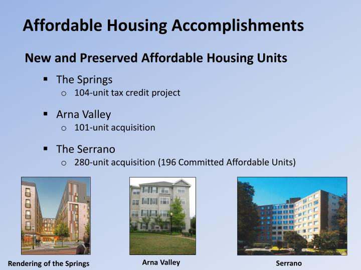 Affordable housing accomplishments